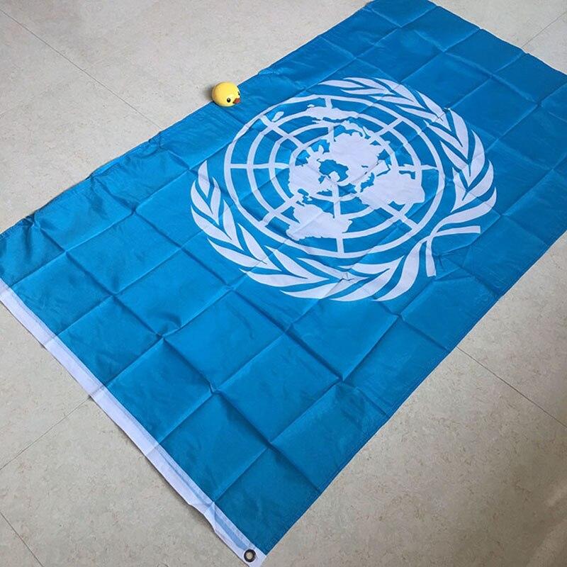 Drapeau de l'onu national volant mondial cent pour cent polyester imprimé drapeaux et bannières des Nations unies 3 * 5ft décoration bannière outlast