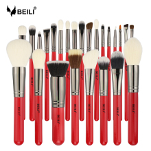 BEILI Red 25pcs Professional Natural Hair Makeup Brushes Set Powder Foundation Blusher Eye Shadow Eyebrow Lip Eyeliner Contour