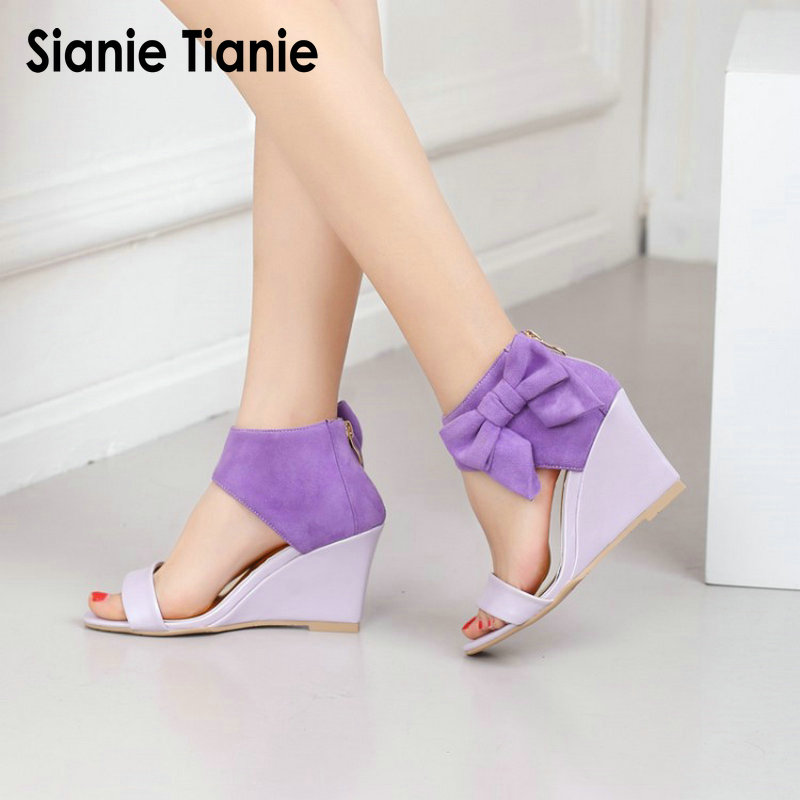 Sianie Tianie summer open toe back zip purple pink woman platform wedges high heel shoes gladiator sandals women with big bowtie