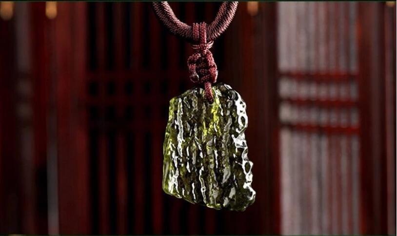 Natural Moldavite green aerolites crystal stone pendant energy apotropaic4g-6g/ lot+ free rope Unique Necklace(China)