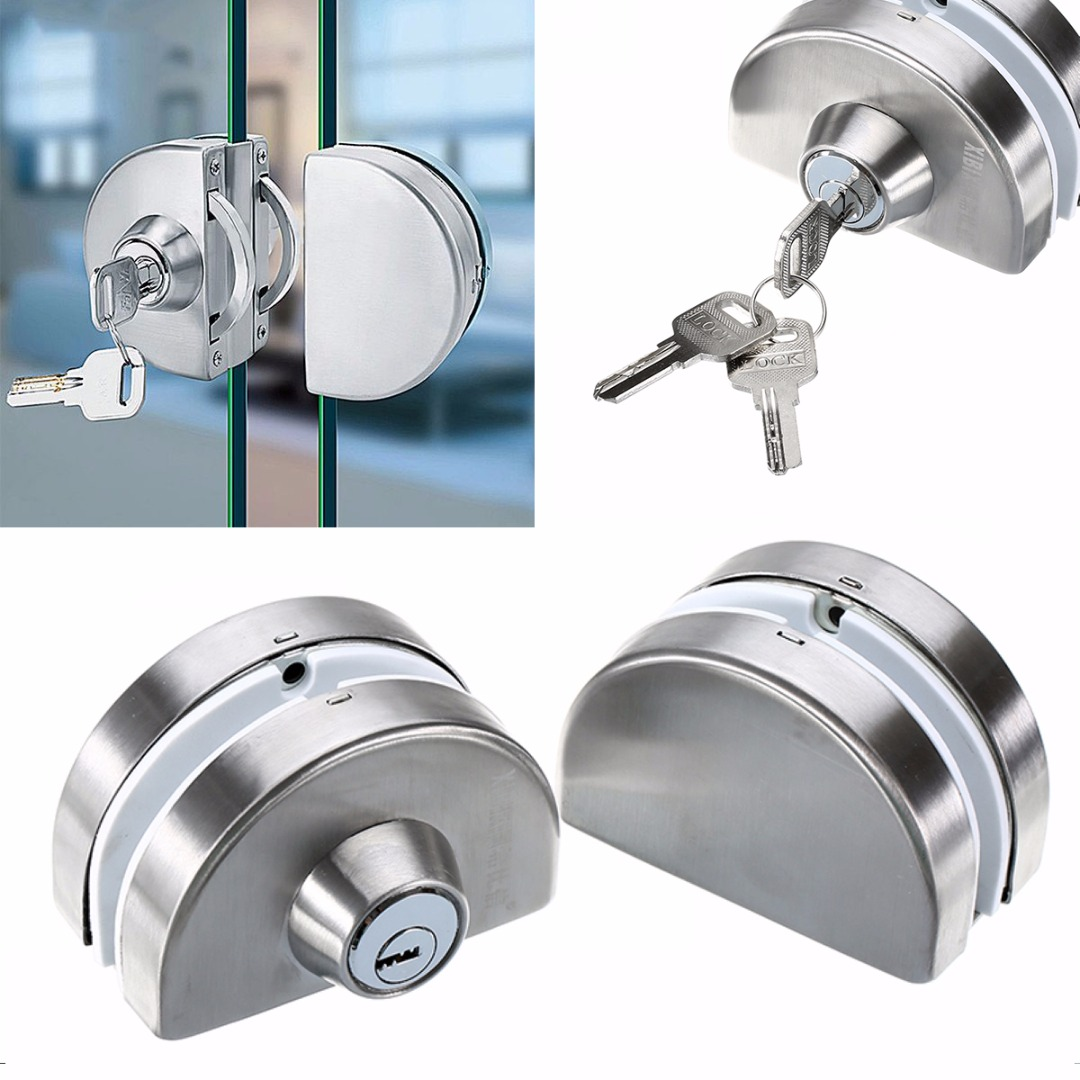 10 - 12mm Glass Door Lock Mayitr Double Bolts Swing Push Sliding Store Shop Stainless Steel Furniture Cabinet Lock high quality sus304 stainless steel 10 12mm glass door lock double swing hinged frameless door no need to open holes