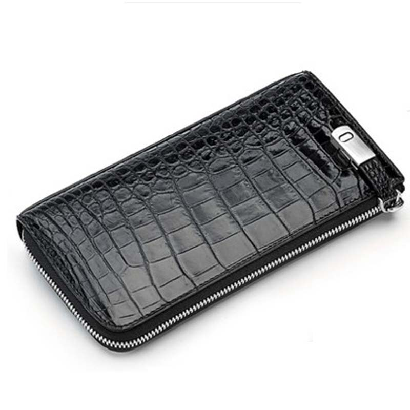 hlt Thai crocodile women purse lady genuine leather thin zipper women clutch bag male large capacity long hand purse ouluoer thailand imported crocodile skins the lady women purse with a purse and a long women wallet