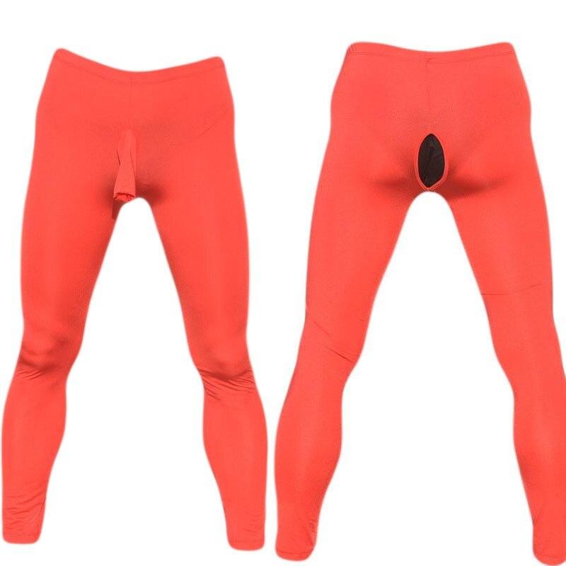 Sexy Men Skinny Sheer Cock Trunk Sheath Open Butt Leggings Low Rise Tight Sissy Under Pants Crossdressing Lingerie