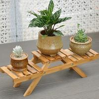 Solid Wooden Floor Multi-Layer Folding Flower Shelf with Tools Varnish Surface Plant Stand for Living Room Office Plant Pot Rack