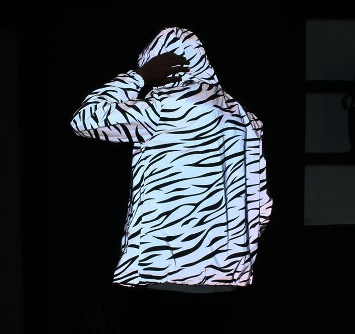Men jacket casual hiphop windbreaker 3m reflective jacket  tide men coat hooded zebra fluorescent clothing