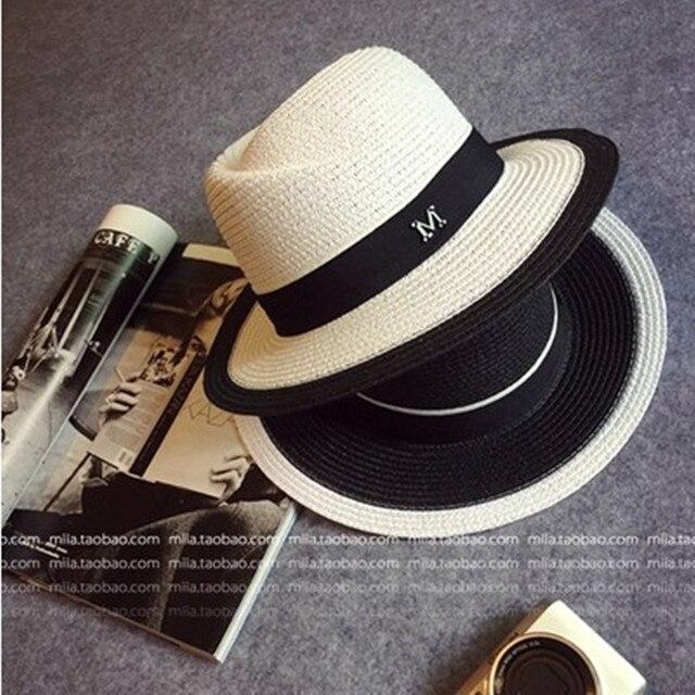94d2cb4b73b Elegant Black Jazz Hats For Women New 2017 White Sun Hat Men Formal Blue  Summer Beach Cap Luxury Brand Letter M Fedora Straw Hat