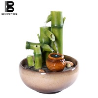 110/220V Handmade Resin Bamboo Rockery Water Fountain Pots Base Creative Decoration Waterscape Umidification Crafts Sent Friends