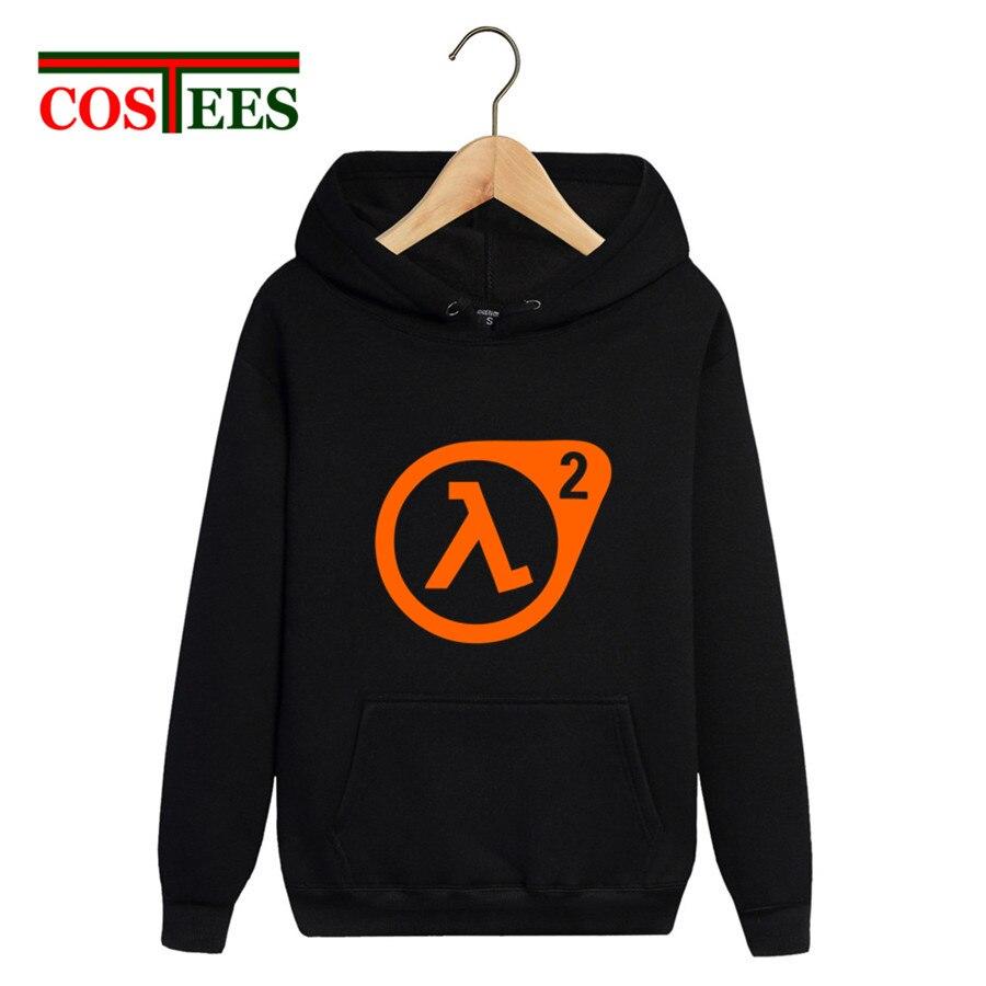 Adults funny winter 2018 pocket hoody sweatshirts Half Life 2 logo printed hoodies homme long sleeve hooded pullover jacket coat