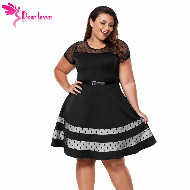 3d062c114e44e Dear Lover office wear Black Dotted Mesh Insert Flare Patchwork Plus Size  Dress with Belt Women Clothing Big Sizes 4XL LC61970