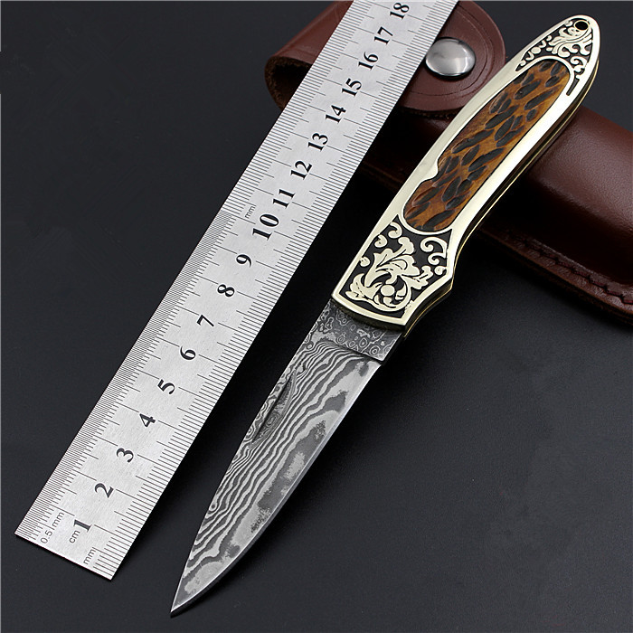 2017 New Arrival Damascus Outdoor Folding Knife Portable Army High Hardness Wilderness Survival Camping Fixed Tactical Knive new browning damascus steel knife outdoor mini damascus pocket knife