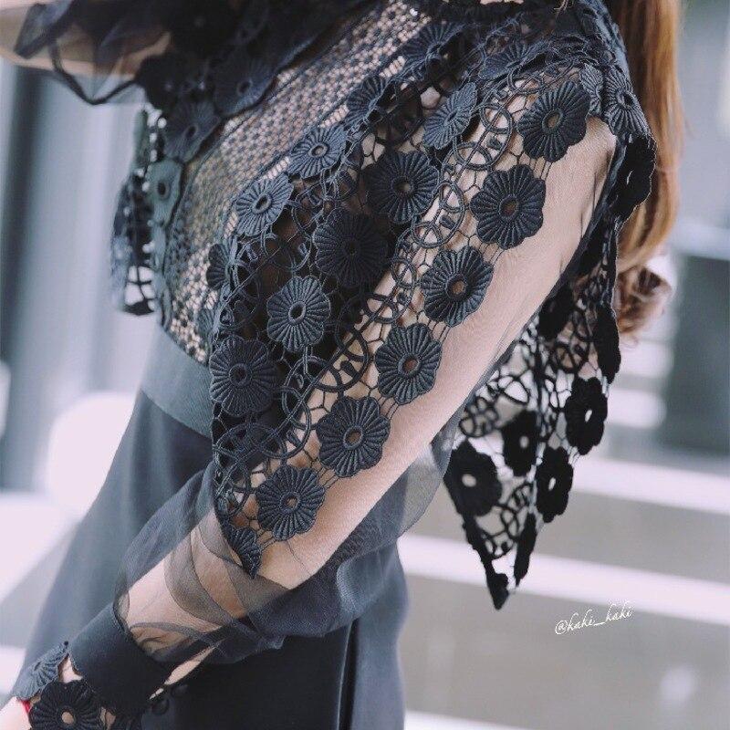 La nouvelle piste 2019 regarde petite robe noire broderie fleur bourgeon soie est évider cultiver moralité robe est 6967