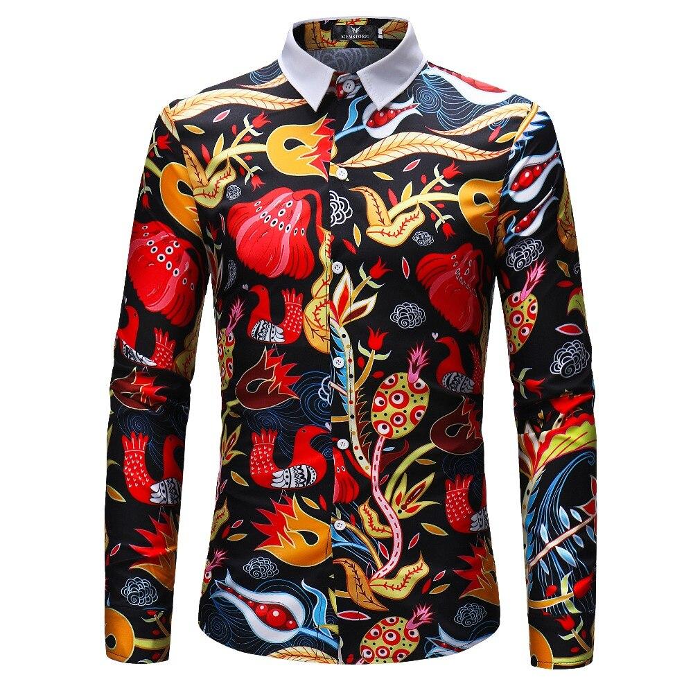 Men Flower Shirts Long Sleeve Shirts Slim Fit Men 3D Printed Shirts 2018 Spring Autumn Casual Hawaiian Shirts For Mens Clothing