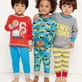 Primavera otoño Niños Pijamas de Algodón de Manga Larga Pijamas, niños Pijama conjunto de Dibujos Animados Impreso Pijamas de Los Niños del Tamaño 7