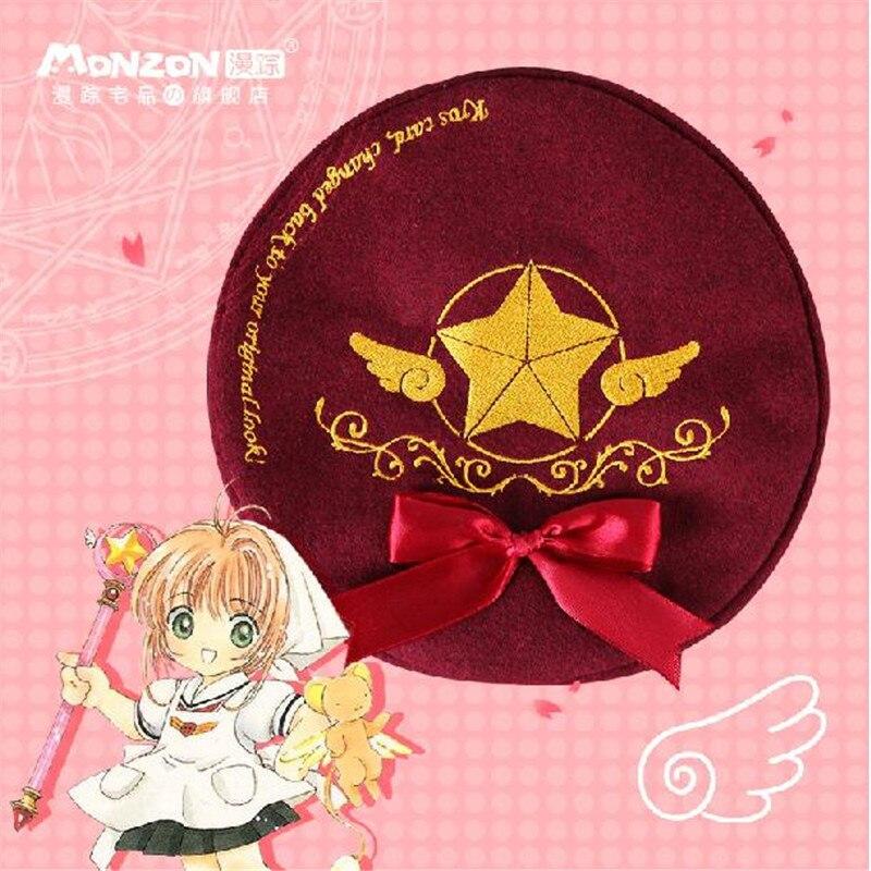 Card Captor Sakura Cosplay Hat Women Girl Lolita Vintage Beret Clow Card Embroidery Cap with Bowknot