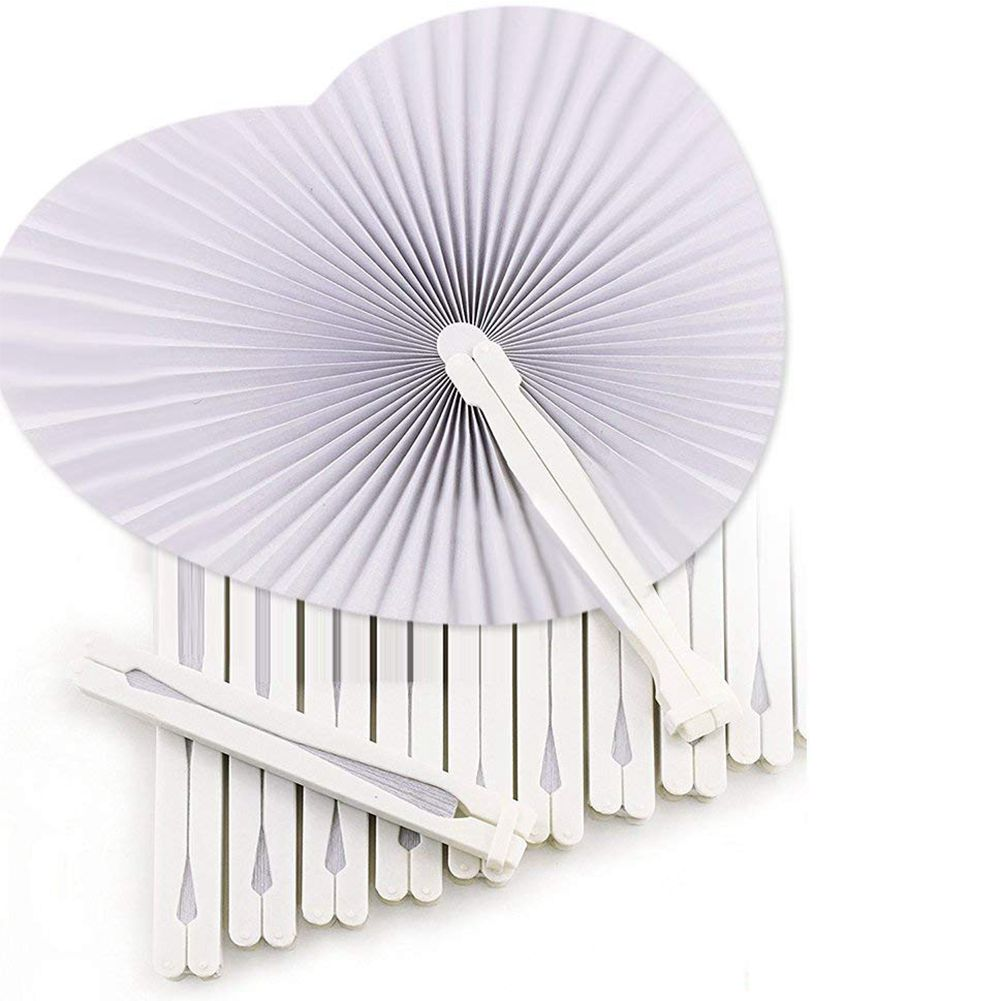 36 Pcs White Wedding Fan - Fans For Ceremony Invitations Heart Shaped Folding - White Wedding Fan Paper Heart Gadgets For Wedd