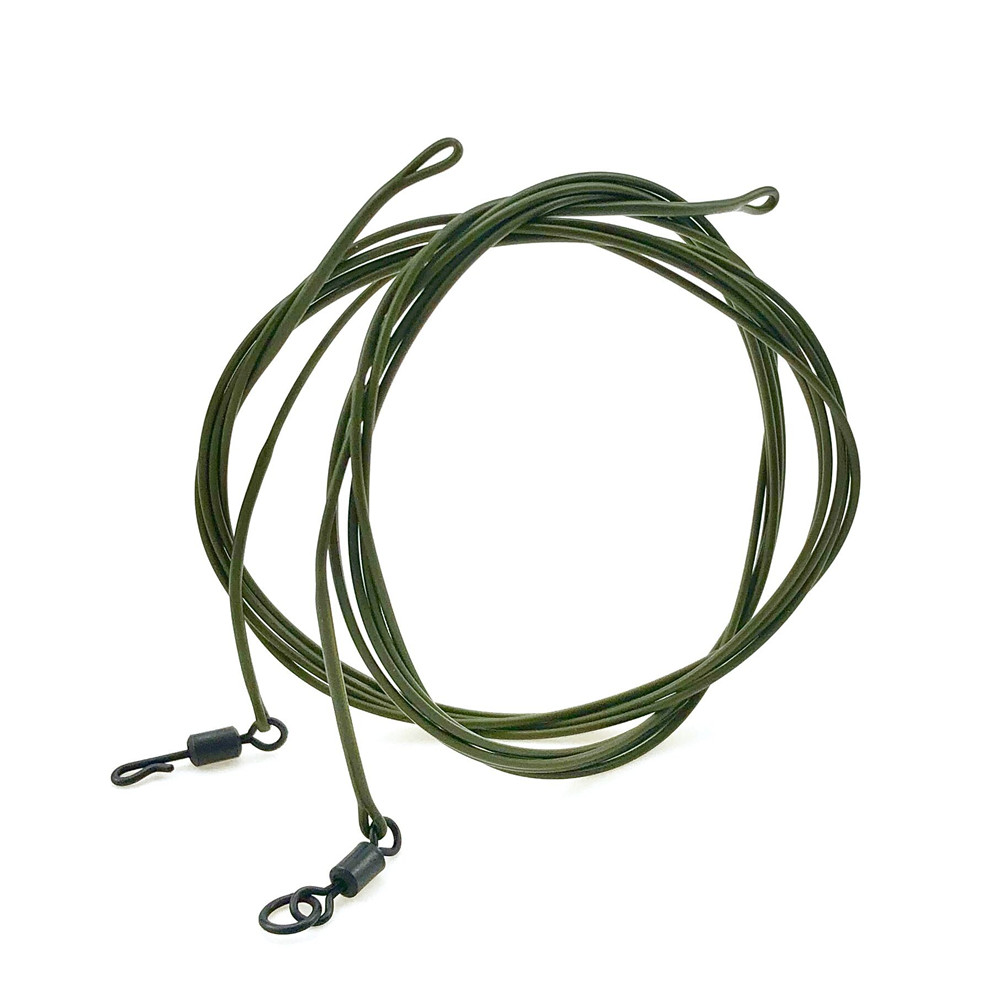 30lbCarp Fishing Line Ready Tied Hooklink Leader 1M With Spinner Quick Swivel Braid Kevlar Hair Rigs