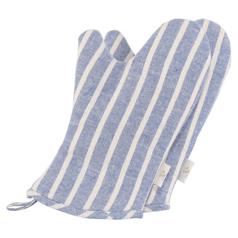 Neoviva Durable Denim Quilting Child Oven Gloves Set of 2 Style Sunny Chalk Striped Cosmic Sky