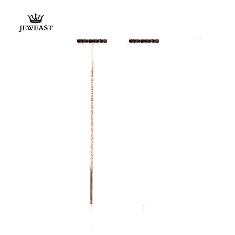 18 K pur or boucle d'oreille réel AU 750 solide or boucles d'oreilles bon noir spinelle haut de gamme à la mode classique fête bijoux vente chaude nouveau 2018