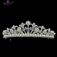 Popular Bridal Tiaras Crowns Flower Imitation Pearls Tiara Crown Wedding Head Piece Jewelry Austrian Crystals SHA8612