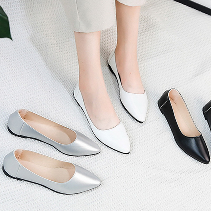 Flats women Spring Autumn Women Ballet Pointed Toe Slip on Flat Shoes Woman Shoes White Low Heels Wedding Shoes Ladies Shoes white lace flower wedding shoes woman flat heel round toe slip on spring autumn plus size 40 41 woman s wedding flats shoes