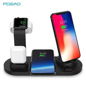 Image 1 - 10W Qi Draadloze Oplader voor iPhone X XS XR 8 11 Snel Opladen Dock Station Voor Apple Horloge 5 4 iWatch Airpods Opladen Pad Stand