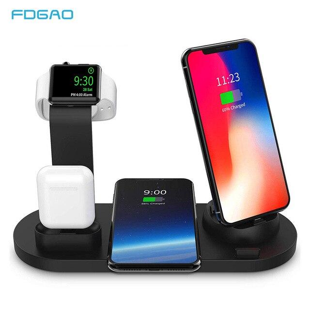 10W Qi Draadloze Oplader voor iPhone X XS XR 8 11 Snel Opladen Dock Station Voor Apple Horloge 5 4 iWatch Airpods Opladen Pad Stand