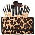 12 Pçs/set Profissional Punho De Madeira Natural Cosméticos Compõem Escova do Pó de Maquiagem Brushes Set Caso Leopardo jogo de escova kits