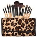 12Pcs/Set Professional Natural Wooden Handle Cosmetic Make Up Makeup Powder Brush Brushes Set Leopard Case brush set kits