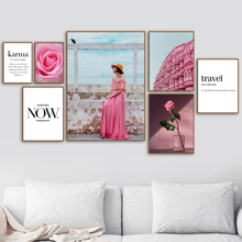 Pink Building Flower Girl Quote Wall Art Canvas Painting Nordic Posters And Prints Landscape Pictures For Living Room Decor