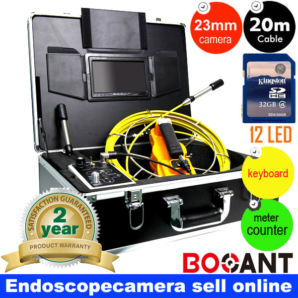 20m DVR Meter accounter waterproof Wall Sewer Inspection Video Camera Borescope Endoscope camera with 7 monitor DHL freeship 20m cable fiber glass 7 tft lcd waterproof pipe sewer inspection camera ccd600tvl with meter accounter endoscope snake camera