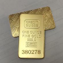 2 шт. Немагнитный кредитный значок, слиток с покрытием из настоящего золота 1 унции, монеты 50 мм x 28 мм с разным серийным номером