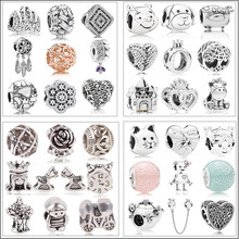 Подходит к оригинальному браслету Pandora, ожерелье, сделай сам, Женские Ювелирные изделия, новые покрытые серебром бусы Микки, сказочное животное, любовь, Шарм