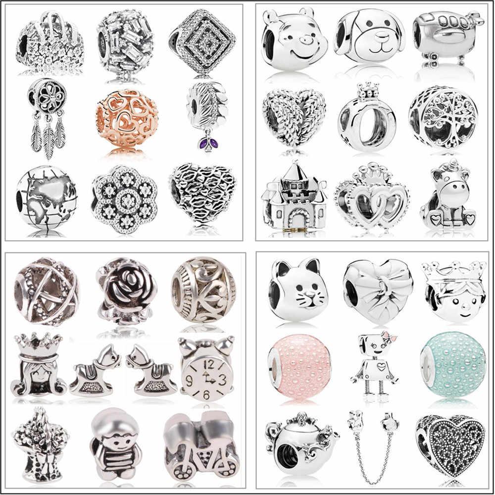 Ajuste Original Pandora pulsera collar DIY mujeres joyería nueva plata plateado cuenta Mickey Fairytale Animal encanto del amor