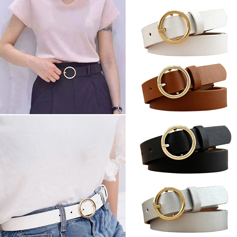 Female Gold Round Metal Circle   Belt   Gold Silver Black White PU Leather Waist   Belts   for Women Girls Jeans Pants