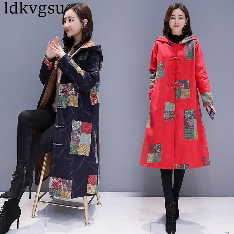 2019 New Winter Clothing Vintage Large Size Printing Cotton Linen Long Windbreaker Coat Women Plus Velvet Long   Trench   Coat V228