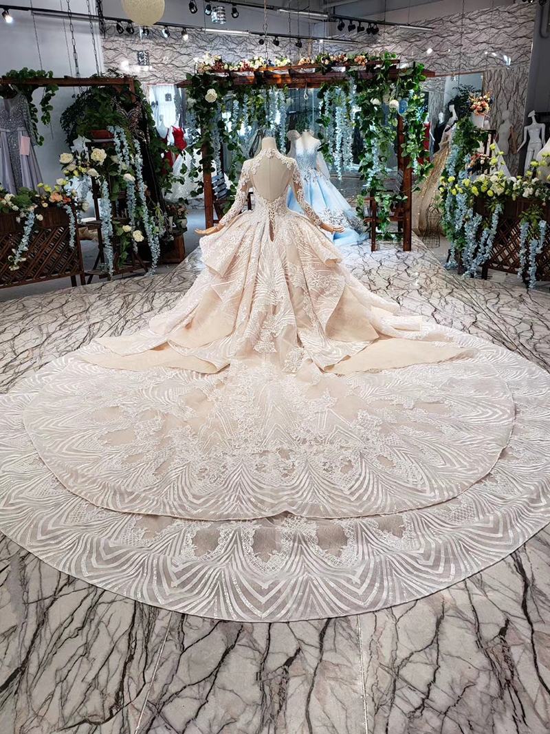 HTL433 long sleeves lace wedding dresses with train v-neck open back puffy ruffle wedding gowns heavy handwork robe de mariee (3)