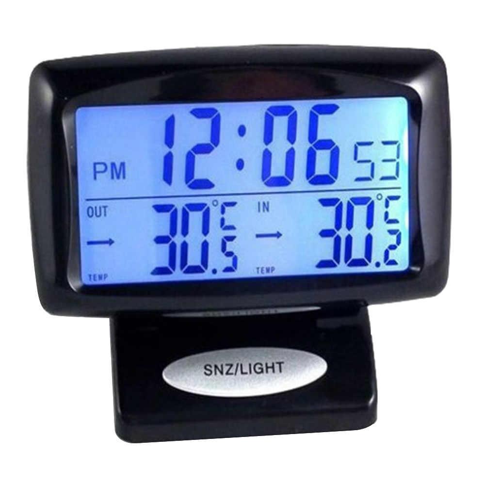 Reloj electrónico para coche medidor de temperatura para interior y exterior termómetro doble sensores LCD luz de fondo azul