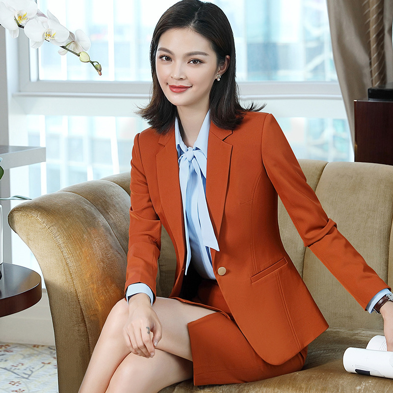 IZICFLY Yellow Women Jackets With Skirt Suit Elegant Business Blazer Femme Long Sleeve Terninho Feminino 2 Piece Office Wear 4XL