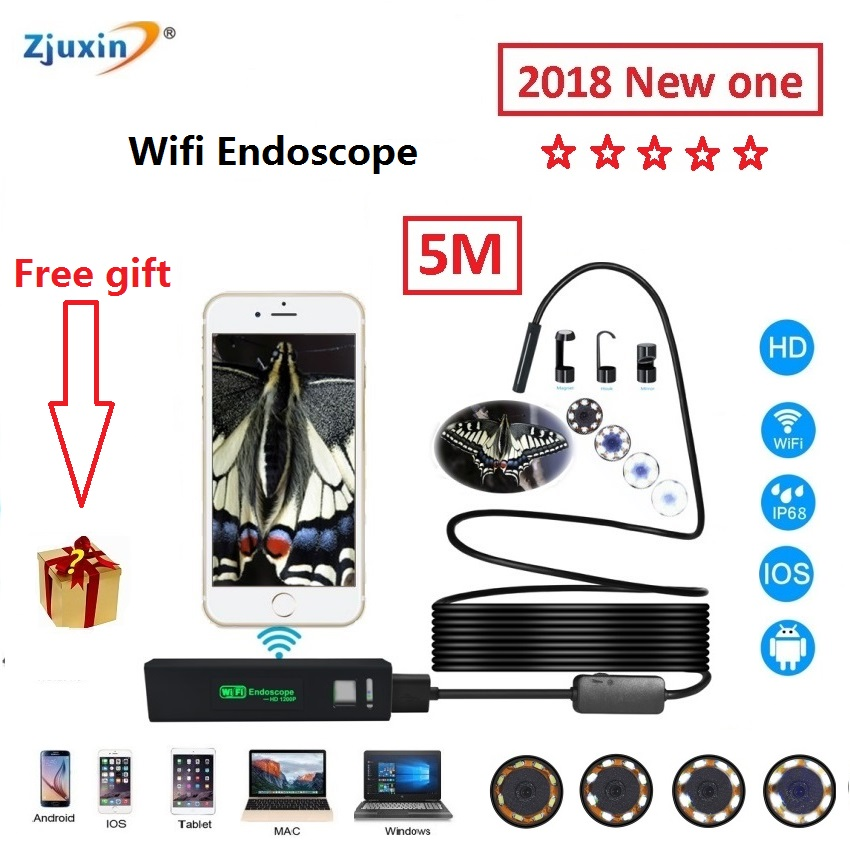 WIFI Endoscope New Camera 8mm HD Lens ZJUXIN 5M USB Iphone Android endoscope Tablet Wireless Endoscope wifi softwire 3 5m wifi endoscope new camera 8mm hd lens usb iphone android endoscope tablet wireless endoscope wifi softwire