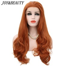 JOY&BEAUTY Orange Free Part Wavy 28 Inch Heat Resistant Hair Hand Tied Lace Part Masquerade Daily Synthetic Lace Front Wig long wavy hand tied swiss lace front blue party wig synthetic