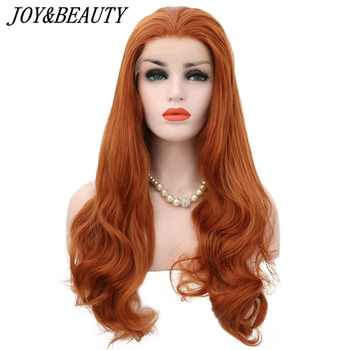 JOY&BEAUTY Orange Free Part Wavy 28 Inch Heat Resistant Hair Hand Tied Lace Part Masquerade Daily Synthetic Lace Front Wig - DISCOUNT ITEM  25 OFF Hair Extensions & Wigs