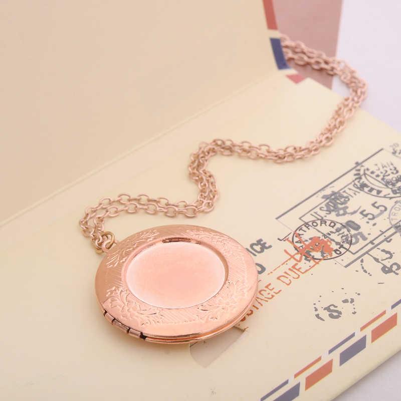 W stylu Vintage Metal okrągły medalion wisiorek naszyjnik kobiety mężczyźni kochanka budka foto choker łańcuch otwarcia miłość biżuteria