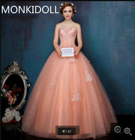 ab5785456a 2017 New Arrival Ball Gown Orange Lace Appliques Prom Dress Beading  Sequined Princess Puffy Pleated Prom