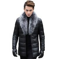 Hot sale 2019 fashion new leather down jacket men's slim leather leather men's fox fur collar lapel thick leather jacket