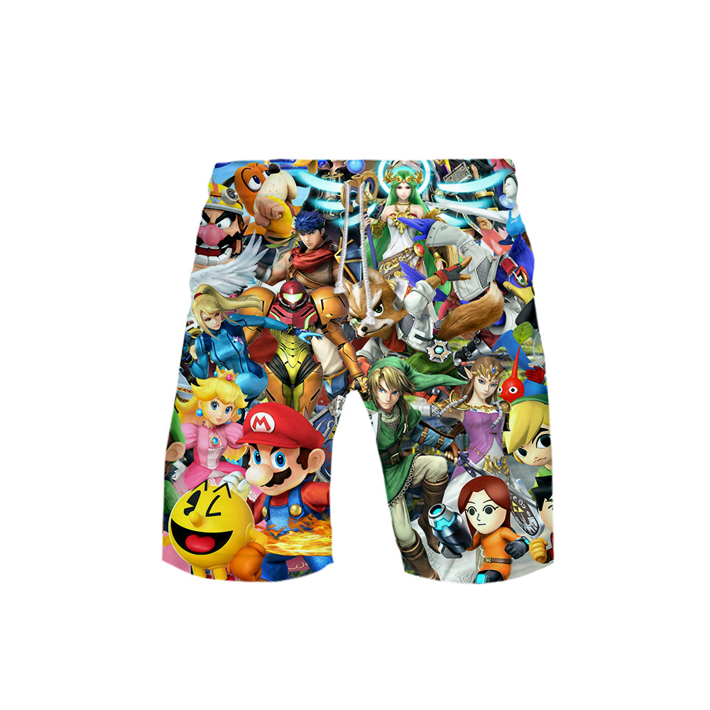 3D Super Mario Swimwear Swim Shorts Trunks Beach Board Shorts Swimming Pants Swimsuits Mens Running Sports Surffing shorts