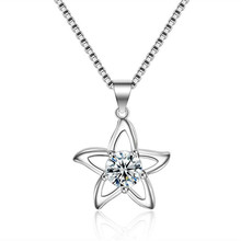 Everoyal Vintage 925 Sterling Silver Necklace Girls Clavicle Accessories Fashion Zircon Flower Pendant Necklace For Women Bijou everoyal luxury zircon heart pendant necklace for women accessories fashion 925 sterling silver necklace girls clavicle jewelry