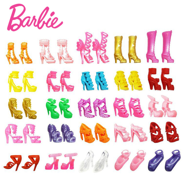 Original Barbie Mix 20pcs-40pcs doll house Sandals For Decor Doll Toy Girls Dolls Accessories Play House Party Girls Gift new kitchen tableware doll accessories for barbie dolls toys girls baby play house toys
