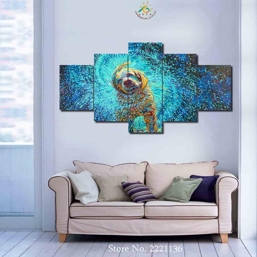 3-4-5 Pieces Rainy Cut Dog HD Painting Wall Art Pictures Canvas Printing Picture
