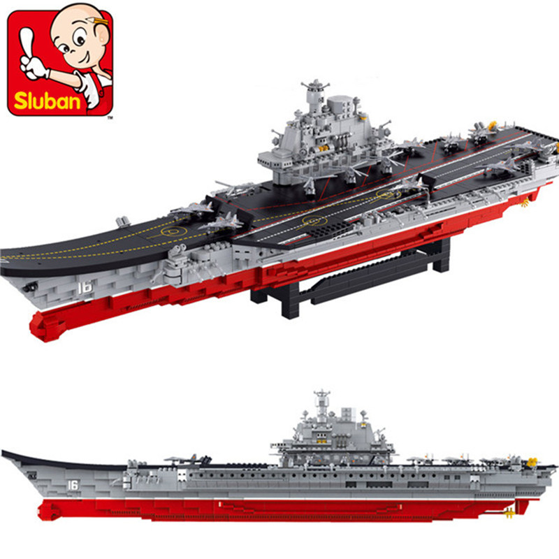 Sluban 1875Pcs Airplane Aircraft-Carrier Building Blocks Birdfarm Bricks Flattop Navigation Action Figure Toys for Children