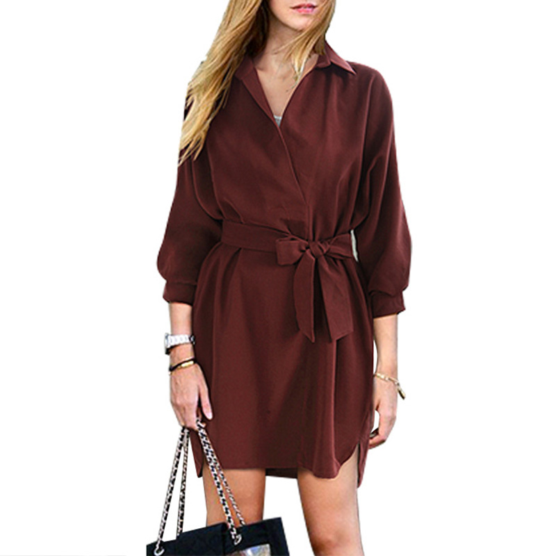 Autumn Women Casual loose Half Sleeve Blouse style Bandage Short Dress